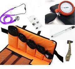 Manuelles Blutdruckmessgerät, Premium-Qualität kit (5 Manschetten), Stethoskop, Reflexhammer, Penlight ST-A79S-SET